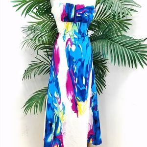 Watercolor Maxi Strapless Dress